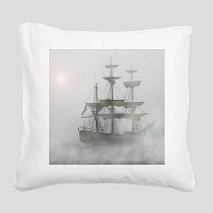 Grey, Gray Fog Pirate Ship Square Canvas Pillow