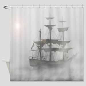 Grey Gray Fog Pirate Ship Shower Curtain