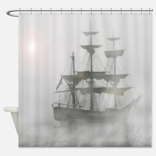 Grey, Gray Fog Pirate Ship Shower Curtain