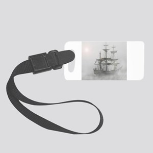 Grey, Gray Fog Pirate Ship Small Luggage Tag