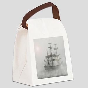 Grey, Gray Fog Pirate Ship Canvas Lunch Bag