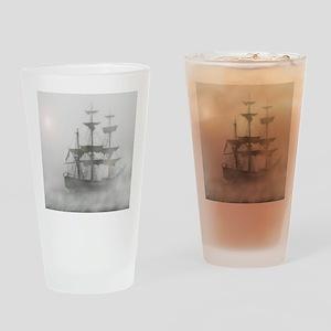 Grey, Gray Fog Pirate Ship Drinking Glass