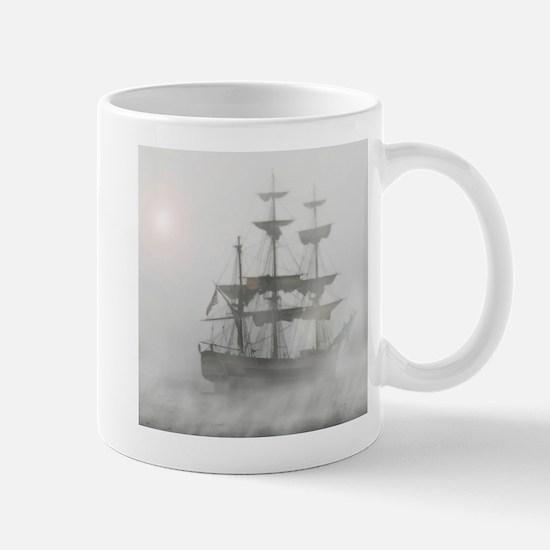 Grey, Gray Fog Pirate Ship Mugs