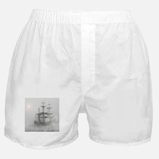 Grey, Gray Fog Pirate Ship Boxer Shorts