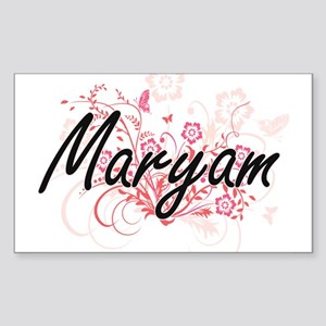 Maryam Artistic Name Design with Flowers Sticker