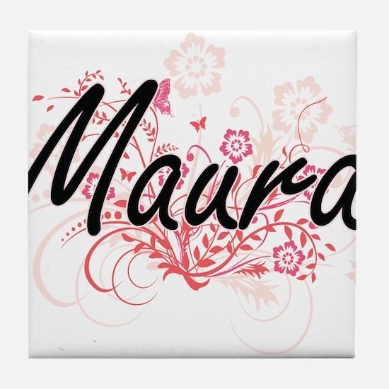 Maura Artistic Name Design with Flowe Tile Coaster