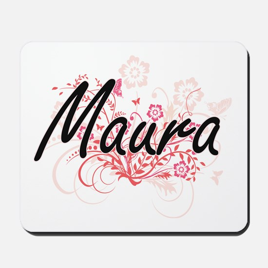 Maura Artistic Name Design with Flowers Mousepad