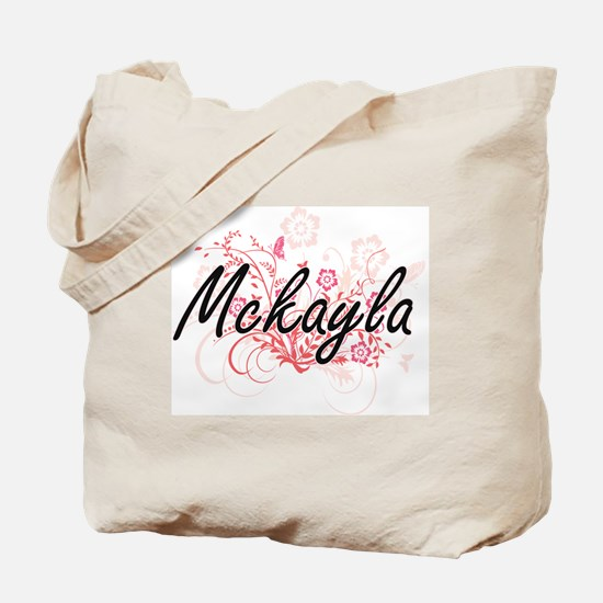 Mckayla Artistic Name Design with Flowers Tote Bag