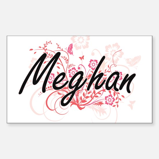 Meghan Artistic Name Design with Flowers Decal