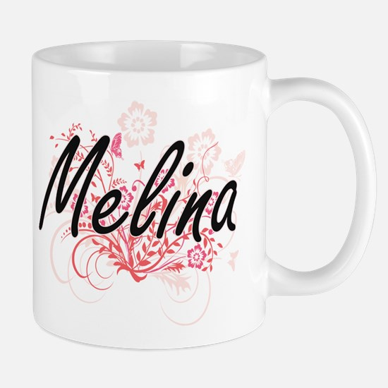 Melina Artistic Name Design with Flowers Mugs