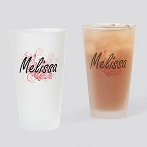 Melissa Artistic Name Design with F Drinking Glass
