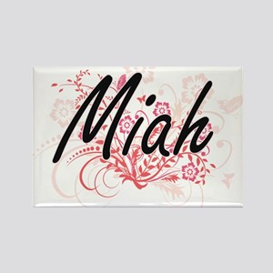 Miah Artistic Name Design with Flowers Magnets