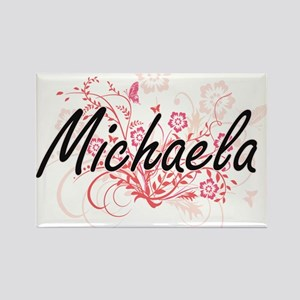 Michaela Artistic Name Design with Flowers Magnets