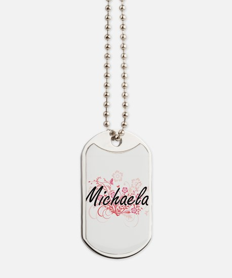 Michaela Artistic Name Design with Flower Dog Tags