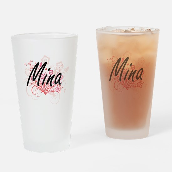 Mina Artistic Name Design with Flow Drinking Glass
