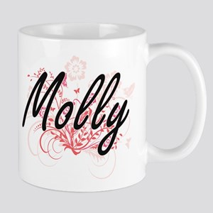 Molly Artistic Name Design with Flowers Mugs