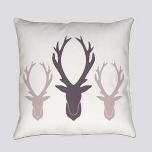 Deer Antler Head Silhouettes Everyday Pillow