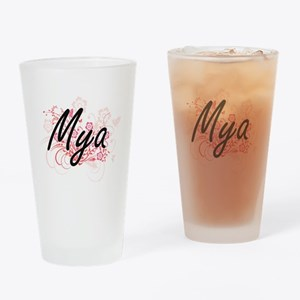 Mya Artistic Name Design with Flowe Drinking Glass