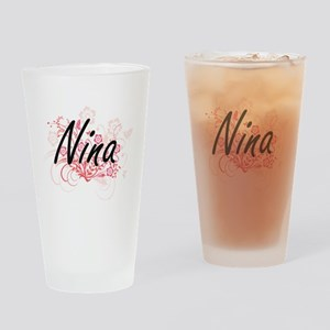 Nina Artistic Name Design with Flow Drinking Glass