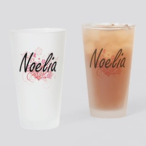 Noelia Artistic Name Design with Fl Drinking Glass