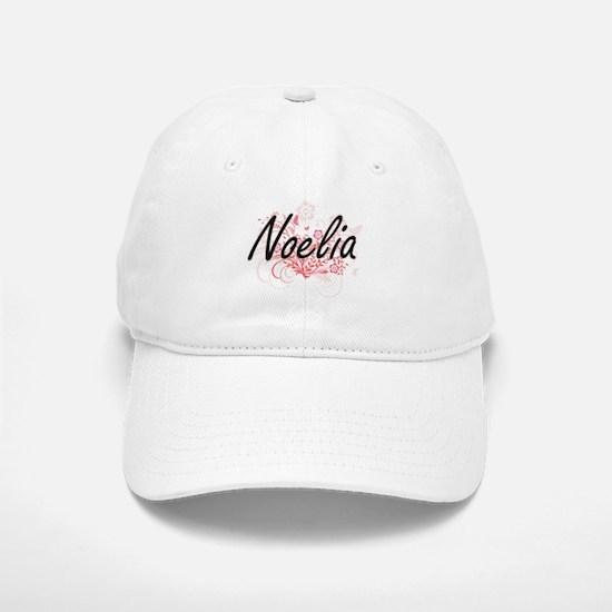 Noelia Artistic Name Design with Flowers Baseball Baseball Cap