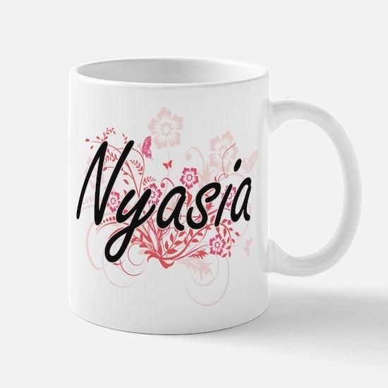 Nyasia Artistic Name Design with Flowers Mugs