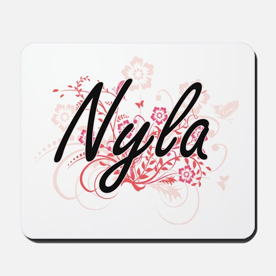 Nyla Artistic Name Design with Flowers Mousepad