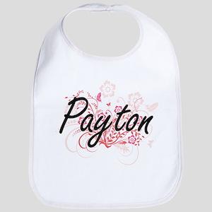 Payton Artistic Name Design with Flowers Bib