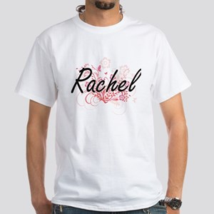 Rachel Artistic Name Design with Flowers T-Shirt