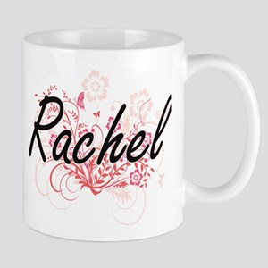 Rachel Artistic Name Design with Flowers Mugs