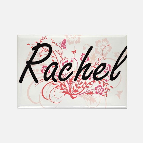 Rachel Artistic Name Design with Flowers Magnets