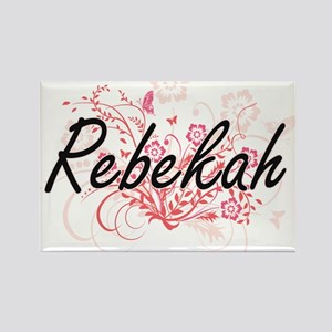 Rebekah Artistic Name Design with Flowers Magnets
