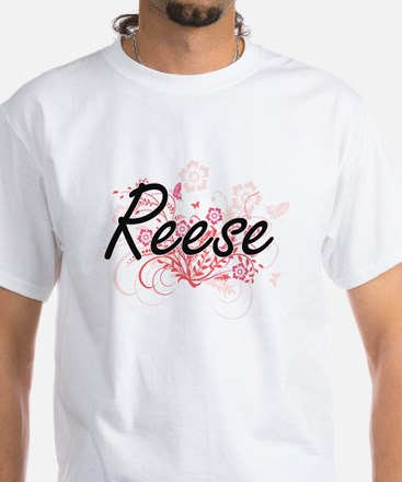 Reese Artistic Name Design with Flowers T-Shirt