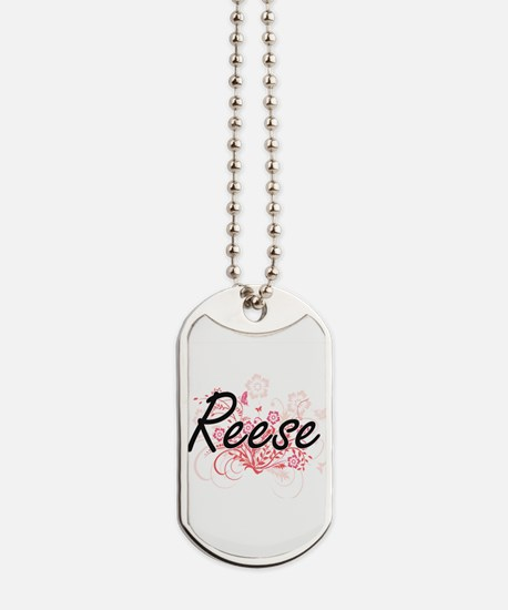 Reese Artistic Name Design with Flowers Dog Tags