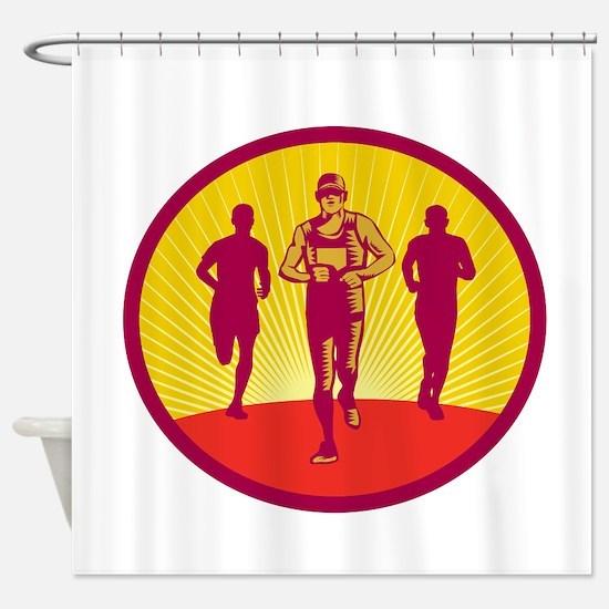 Marathon Runner Circle Woodcut Shower Curtain
