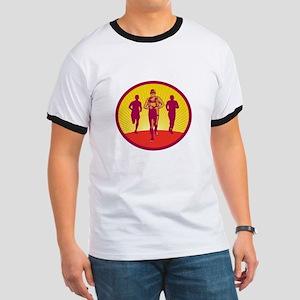 Marathon Runner Circle Woodcut T-Shirt