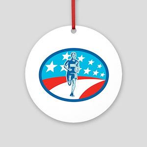 Marathon Runner USA Flag Oval Woodcut Round Orname