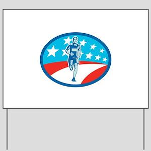 Marathon Runner USA Flag Oval Woodcut Yard Sign