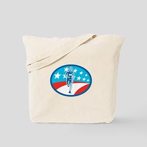 Marathon Runner USA Flag Oval Woodcut Tote Bag