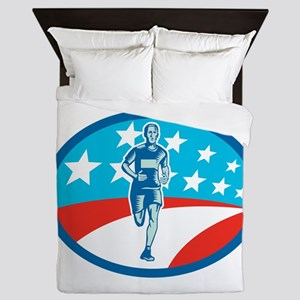 Marathon Runner USA Flag Oval Woodcut Queen Duvet
