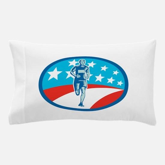 Marathon Runner USA Flag Oval Woodcut Pillow Case