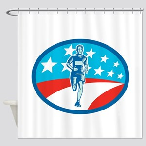 Marathon Runner USA Flag Oval Woodcut Shower Curta