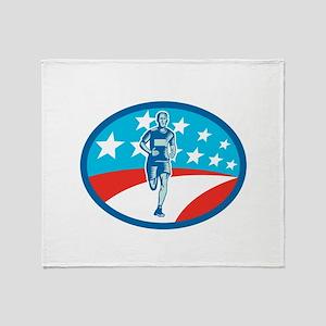 Marathon Runner USA Flag Oval Woodcut Throw Blanke