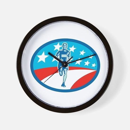 Marathon Runner USA Flag Oval Woodcut Wall Clock