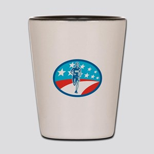 Marathon Runner USA Flag Oval Woodcut Shot Glass