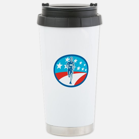 Marathon Runner USA Flag Oval Woodcut Travel Mug