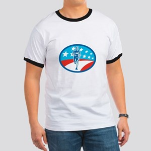 Marathon Runner USA Flag Oval Woodcut T-Shirt