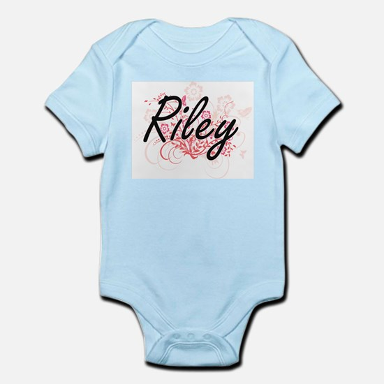 Riley Artistic Name Design with Flowers Body Suit