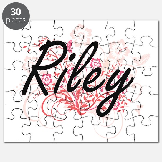 Riley Artistic Name Design with Flowers Puzzle