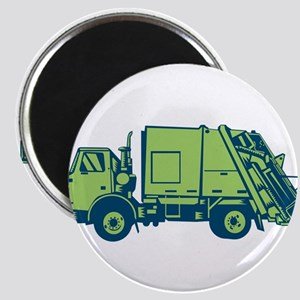 Garbage Truck Rear End Loader Side Woodcut Magnets